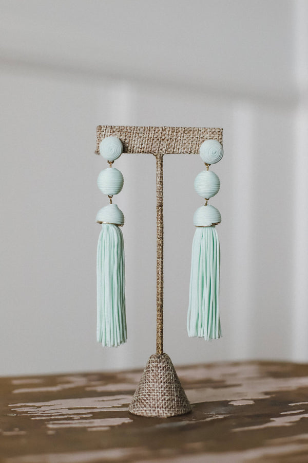 Mint corded drop earrings