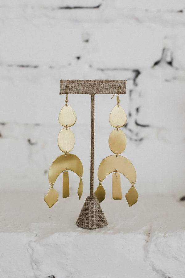 Gold shape chandelier earrings