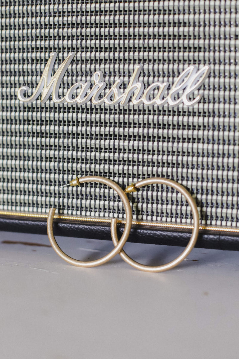 brushed gold hoops