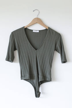 3/4 length v neck body suit olive