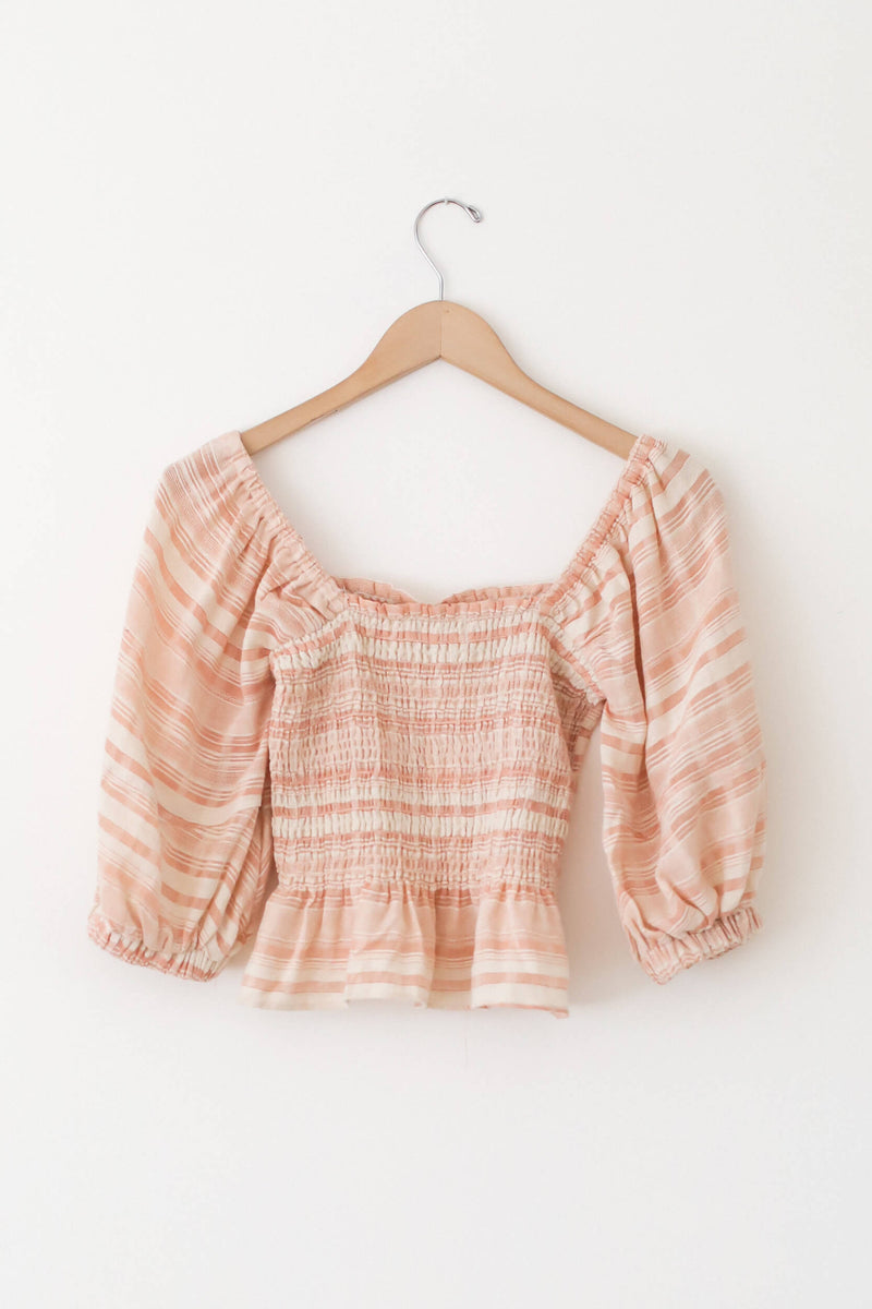textured stripe ruffle top