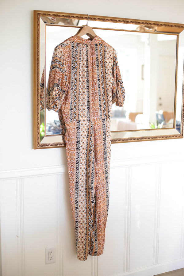 button down ethnic print jumpsuit