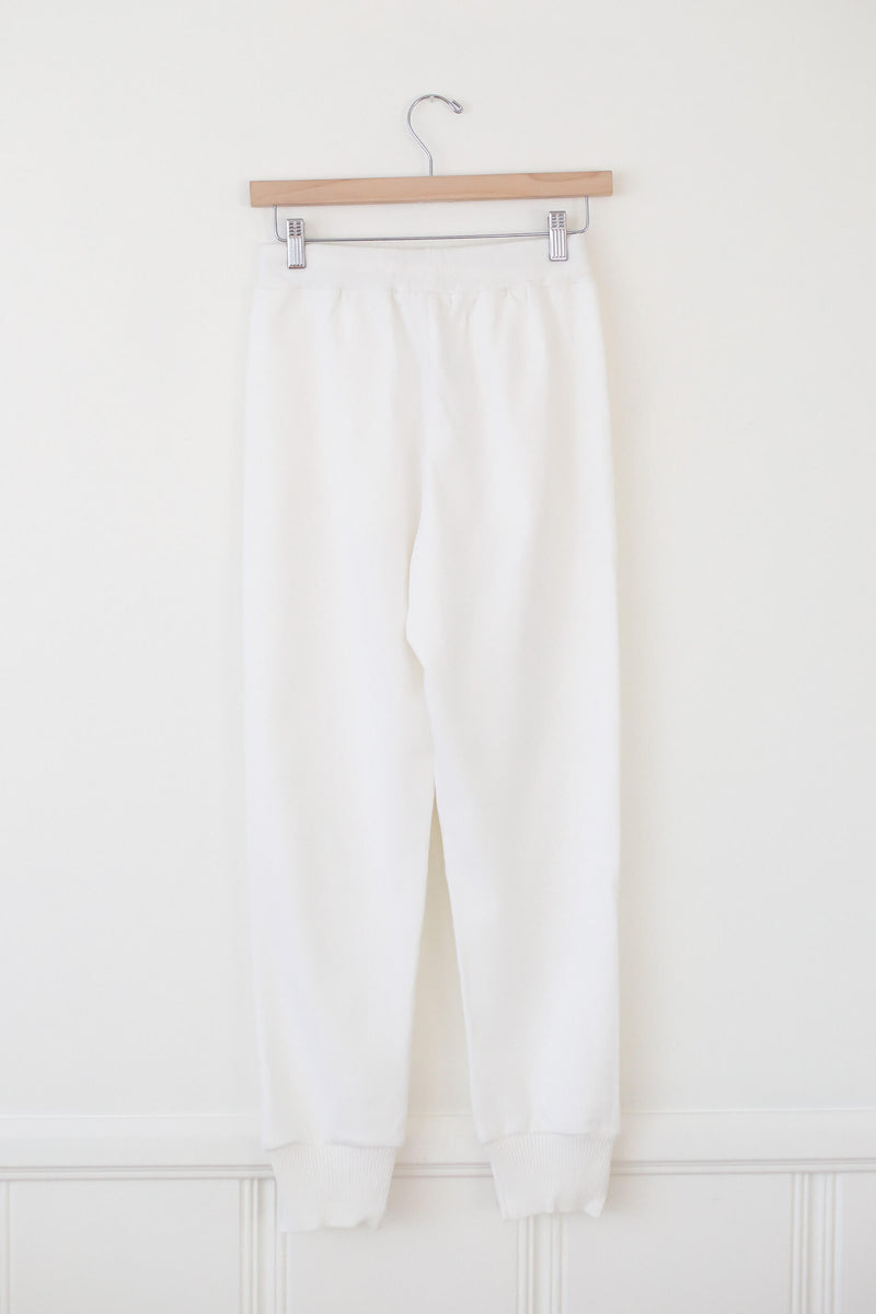 white sweat pants