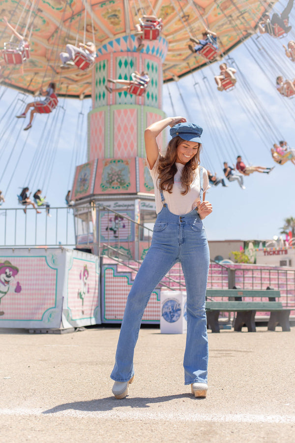 women's bell bottom jeans overalls