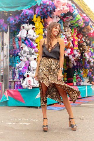 leopard print midi skirt with lace, silk came