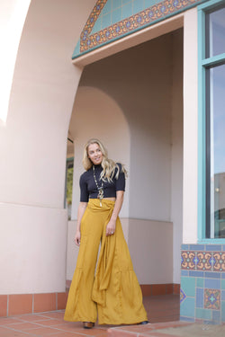 mustard high waisted flowy pants