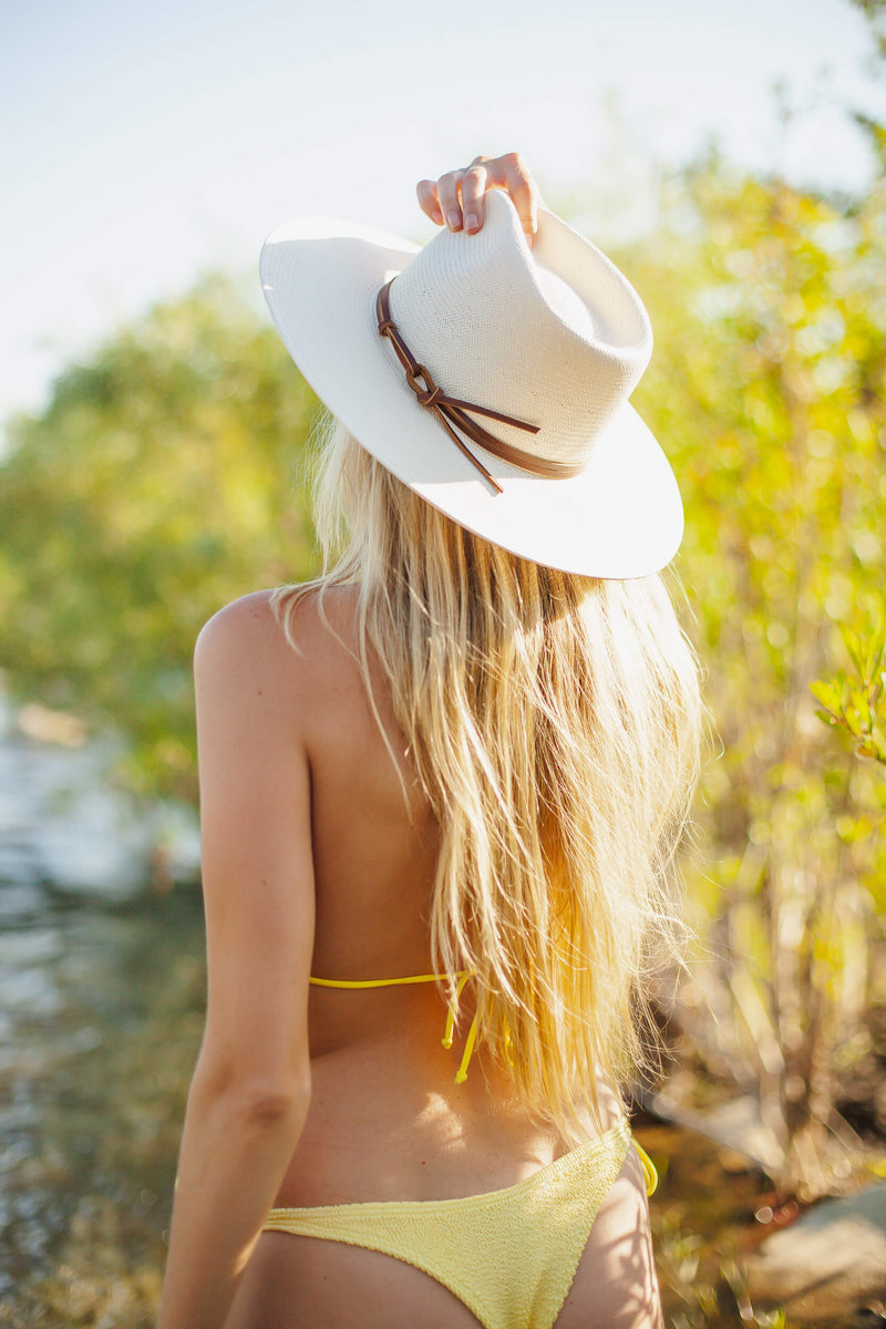 natural straw hat with leather