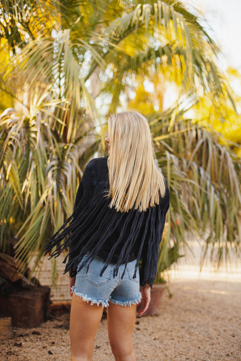 Black fringe denim jacket