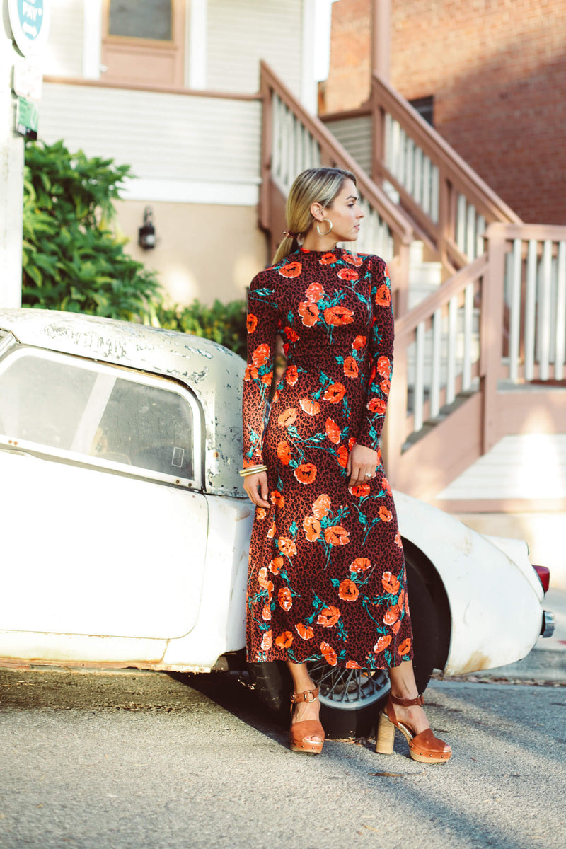 long sleeve free people midi dress