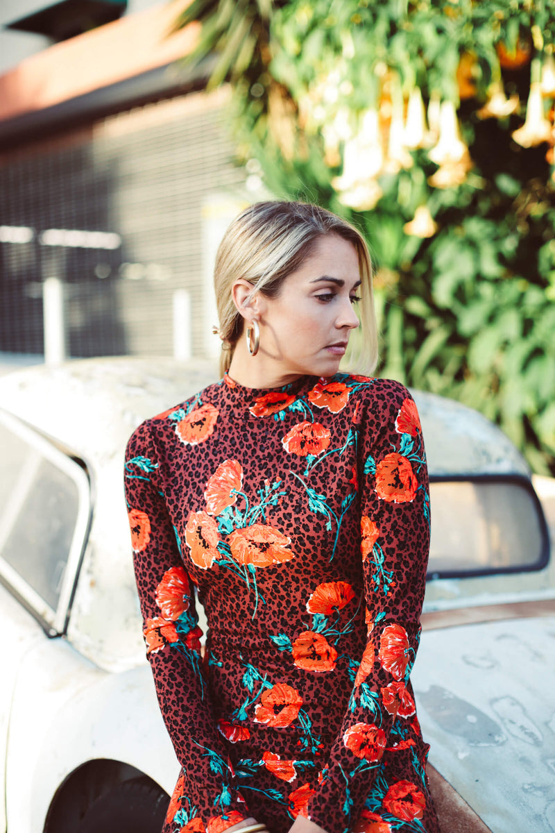 floral print free people midi dress