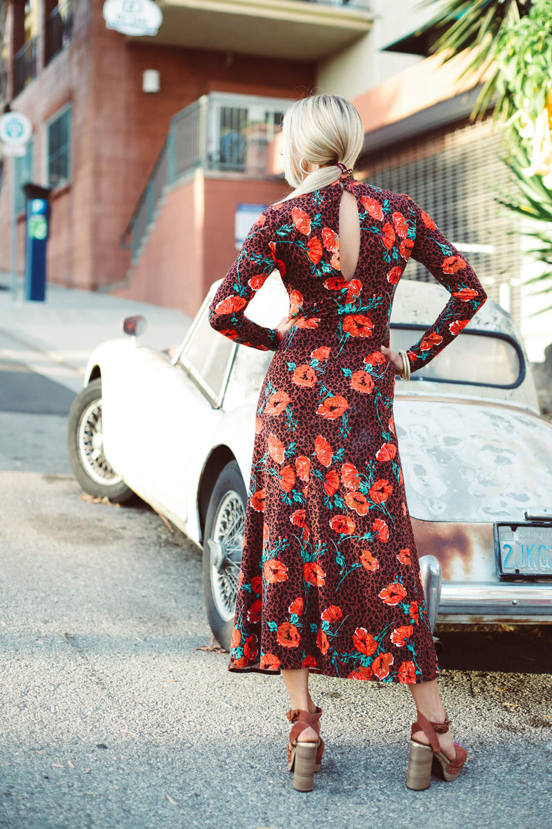 modest long sleeve midi dress