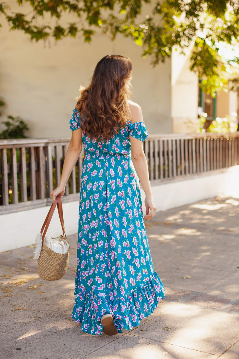 tropical floral flowy maxi dress