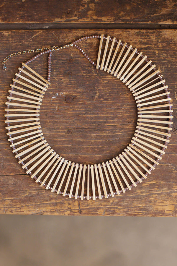 Wooden statement necklace