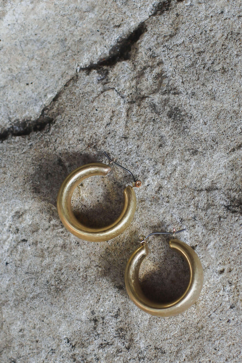 small thick gold hoop earrings