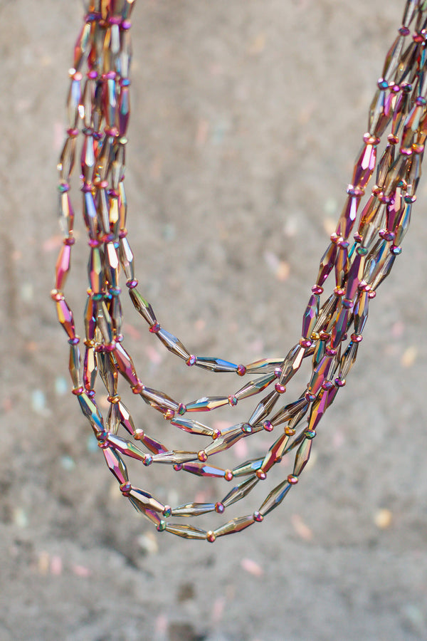 multi strand iridescent beaded necklace