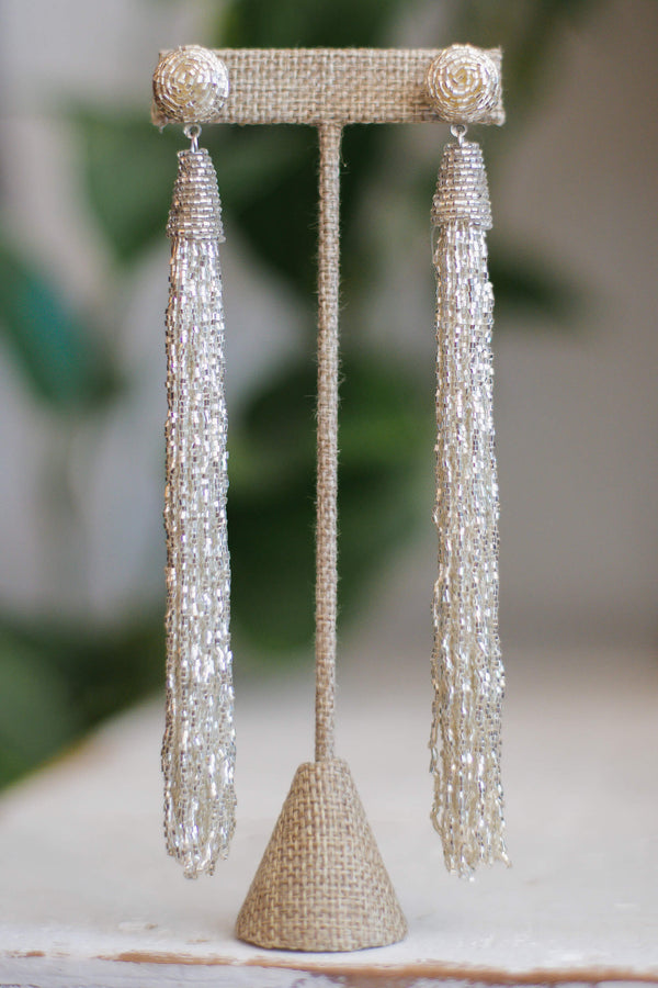 Silver beaded tassel earrings