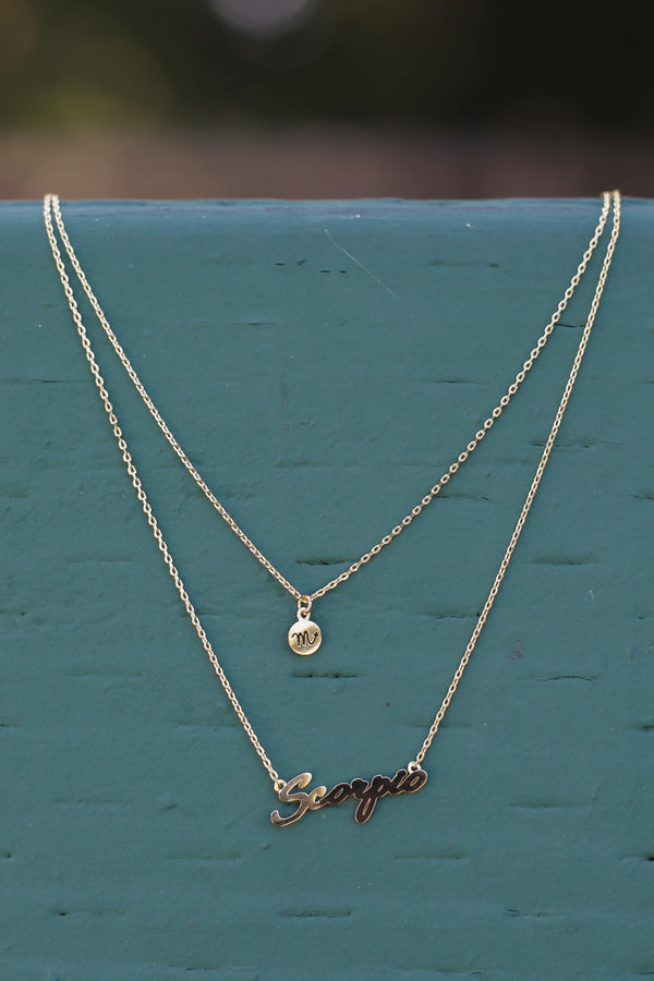 gold zodiac sign chain necklace