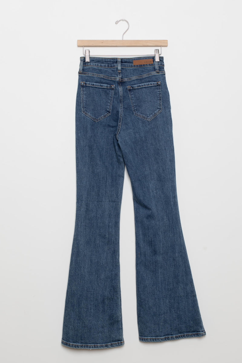 back of blazing saddle flare jeans