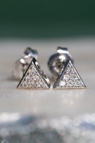 silver triangle stud earrings
