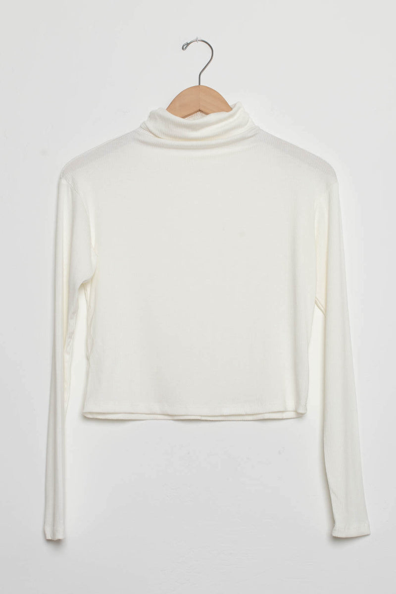 white ribbed turtle neck