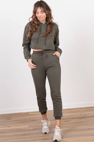 womens olive sweat pants