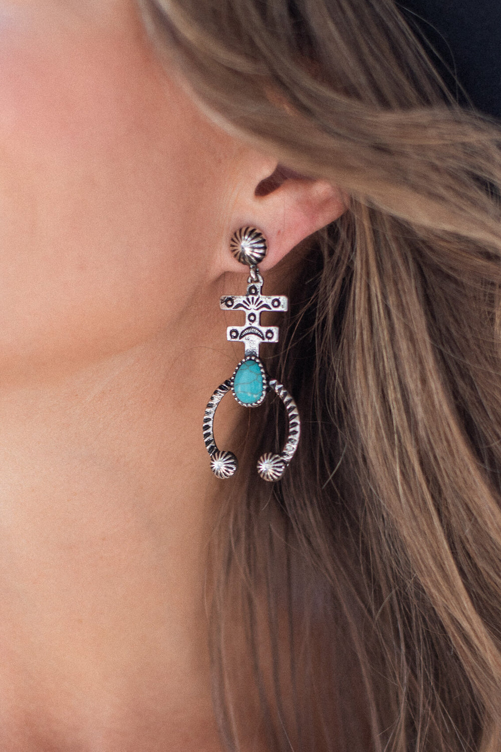 Hand crafted Navojo inspired earrings with hammered sterling detailing cute country outfit for women Kariella Albuquerque Earring