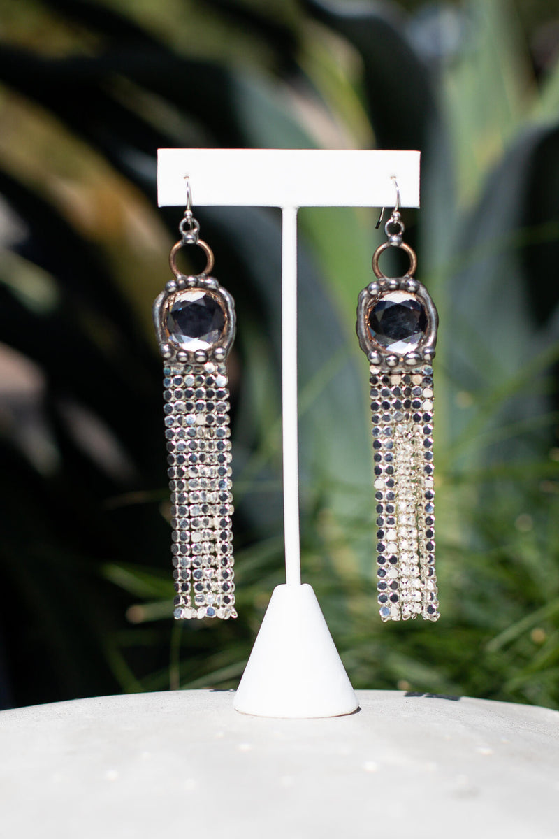 Mikal Winn Silver Mesh Fringe Earrings