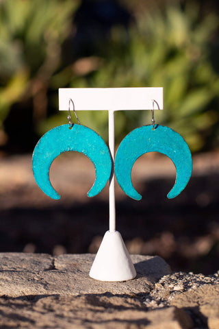 metal teal earrings