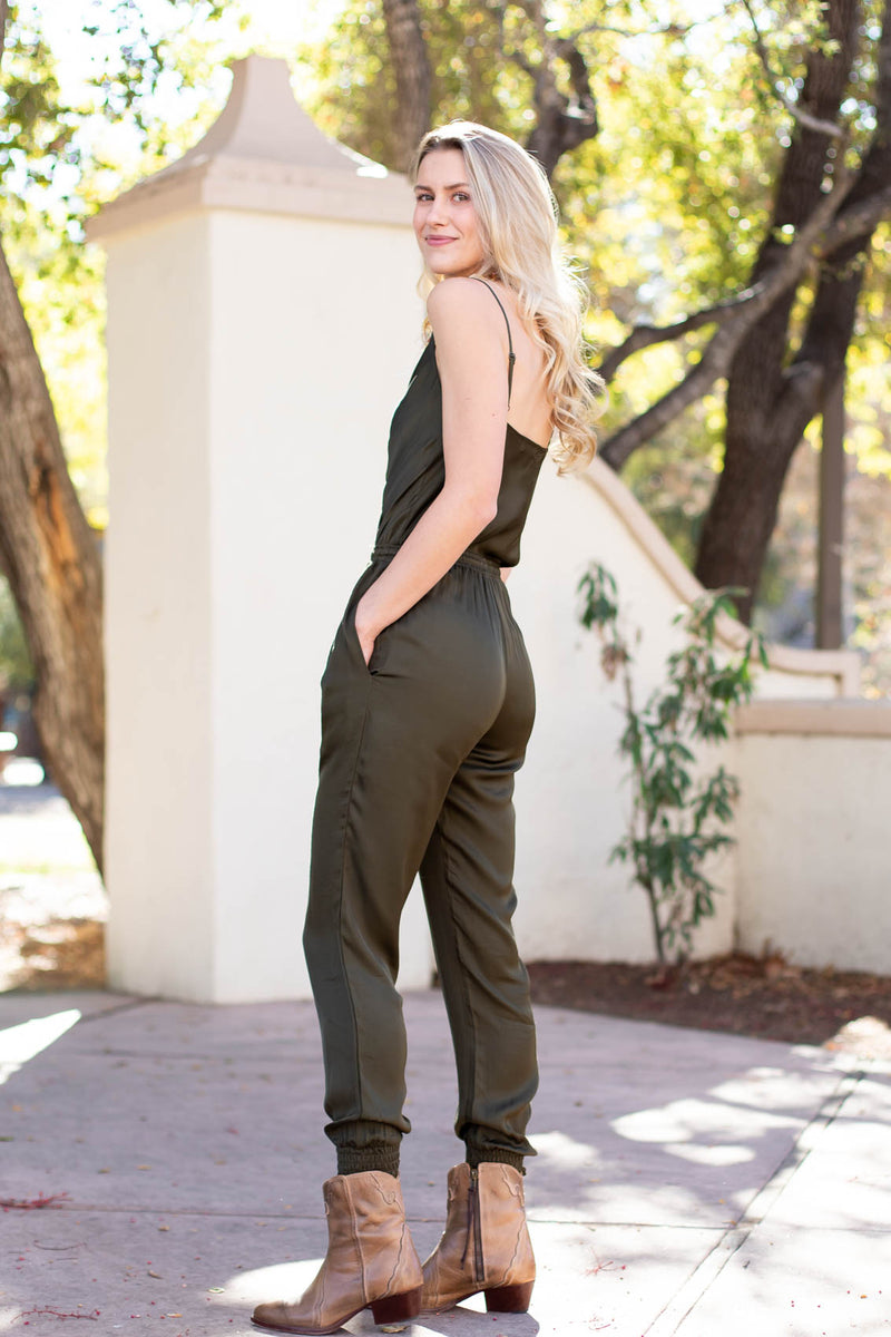 spaghetti strap one-piece jumpsuit