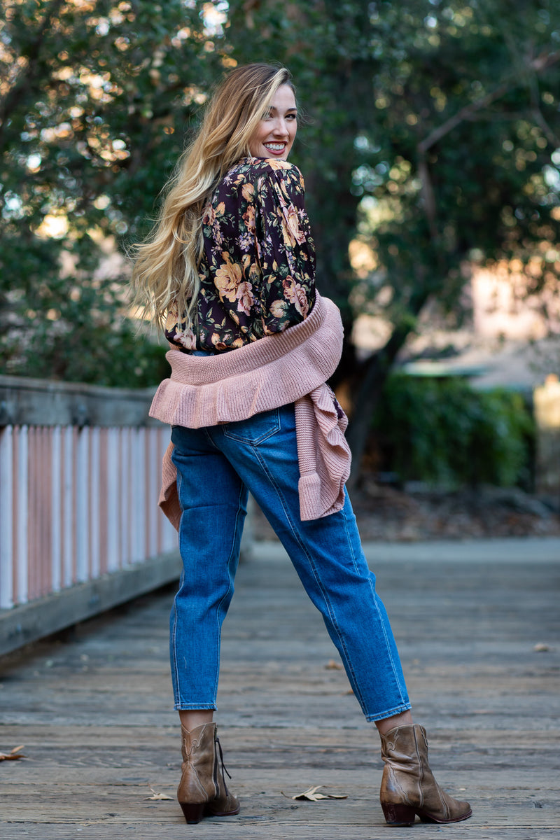 silky floral blouse with tassels