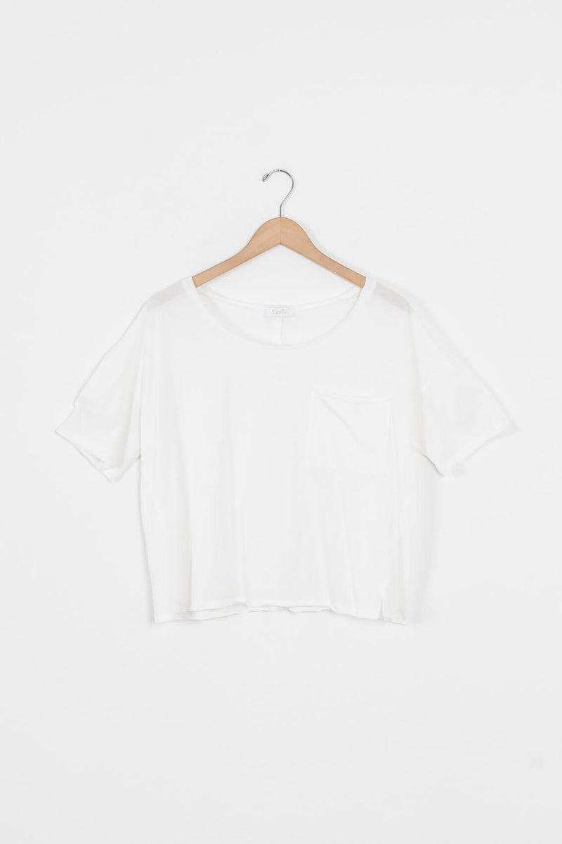 boxy white tee shirt for women