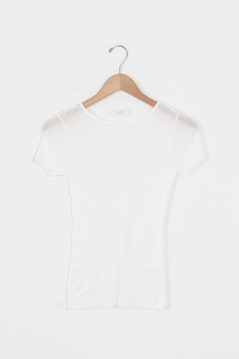 thin white ribbed tee