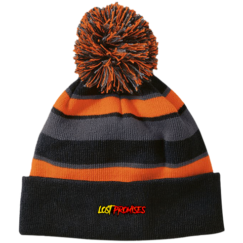 Lost Promises Classic Striped Beanie with Pom