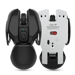 Rechargeable Wireless Mouse with Three DPI Adjustable, Mute Design, Aluminum Alloy Bottom & Sci-Fi Look, for Gamer, Study & Work