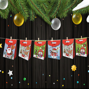 4 Color Christmas Candy Paper Bag 1-24 Advent Calendar Environmentally Friendly High-End Cake Chocolate Bag Reusable Christmas Candy Paper Bag