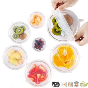 Silicone Stretch Lids, 6-Pack Various Sizes Cover for Bowl