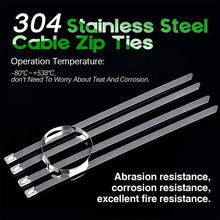 Load image into Gallery viewer, 100PCS Multi-Purpose Locking Cable Metal Zip Ties