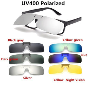 Unisex UV400 Polarized Sunglasses Clips Outdoor Driving Riding Night Vision Lens Myopia Glasses Clips