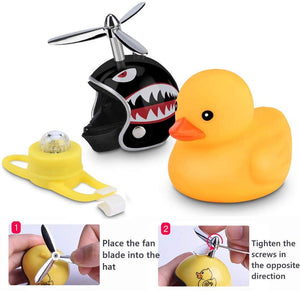 Creative Cute Wearing Helmet Small Yellow Duck For Car Decoration/Bicycle Horns