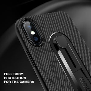Carbon Fiber Phone Case For Samsung S Series Edge Note/ iPhone 8 7 6 6S Plus X XS XR XS Max Invisible Bracket Soft Shell Protective Cover