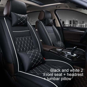 All-Inclusive Leather Car Seat Four Seasons Universal Front And Rear Seat Neck Lumbar Pillow