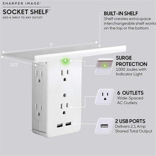 Load image into Gallery viewer, Socket Shelf- 8 Port Surge Protector Wall 6 Outlet Electrical Outlet Extenders 2 USB Charging Ports & Removable Built-In Shelf
