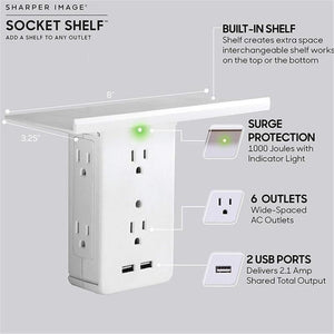 Socket Shelf- 8 Port Surge Protector Wall 6 Outlet Electrical Outlet Extenders 2 USB Charging Ports & Removable Built-In Shelf