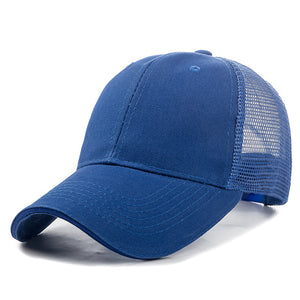 Unisex Mesh Cap Casual Plain Cotton Mesh Adjustable Baseball Cap