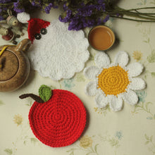Load image into Gallery viewer, Santa Apple Sun Flower Handmade Crochet Coaster