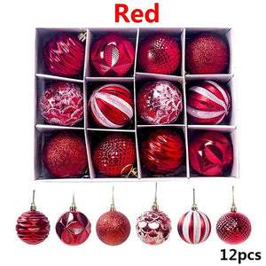 12Pcs 5.5cm PVC Christmas Balls Ornaments For Xmas Tree Hanging Holiday Wedding Party Decorations