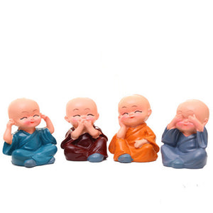 Four Little Chinese Style Kung Fu Monks Car/Home Accessories 4PCS