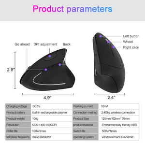 Ergonomic Wireless Charging Vertical Mouse
