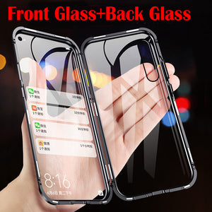 Magnetic Metal Double Side Glass Phone Case For Huawei
