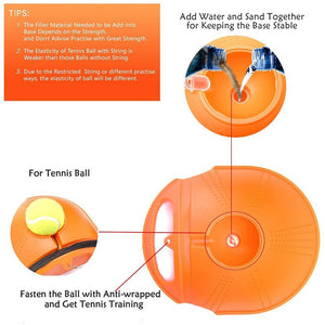 Single Tennis Trainer Base + Rubber Ball Set Portable Self-Time Racket Practice Ball Tennis Training Equipment Tennis Coach Training Rebound Ball